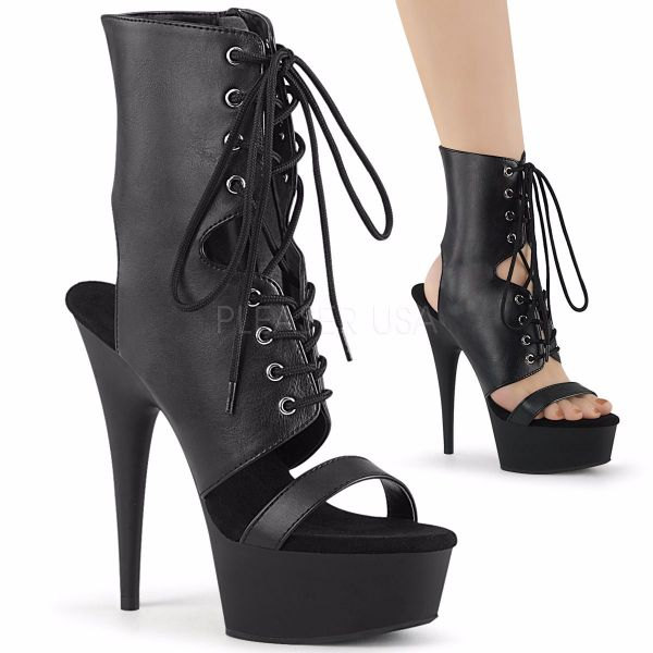 Product image of Pleaser DELIGHT-600-37 Black Faxu Faux Leather/Black Matte 6 inch (15.2 cm) Heel 1 3/4 inch (4.5 cm) Platform Lace-Up Ankle Bootie Sandal Side Zip