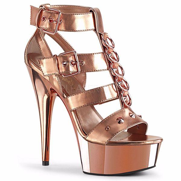Product image of Pleaser DELIGHT-658 Rose Gold Metallic Polyurethane (Pu)/Rose Gold Chrome 6 inch (15.2 cm) Heel 1 3/4 inch (4.5 cm) Platform Strappy T-Straps Close Back Sandal