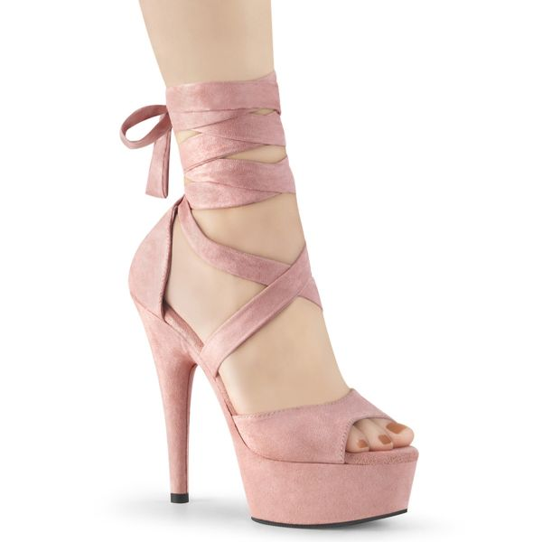Product image of Pleaser DELIGHT-679 Baby Pink Faux Suede/Baby Pink Faux Suede 6 inch (15.2 cm) Heel 1 3/4 inch (4.5 cm) Platform Criss Cross Ankle Wrap Sandal Shoes