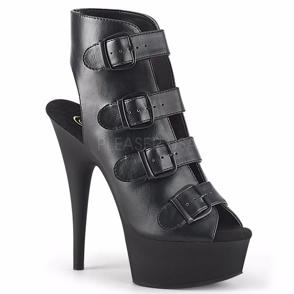 Product image of Pleaser DELIGHT-683 Black Faux Leather/Black Matte 6 inch (15.2 cm) Heel 1 3/4 inch (4.5 cm) Platform Buckles-Up Strappy Ankle Bootie