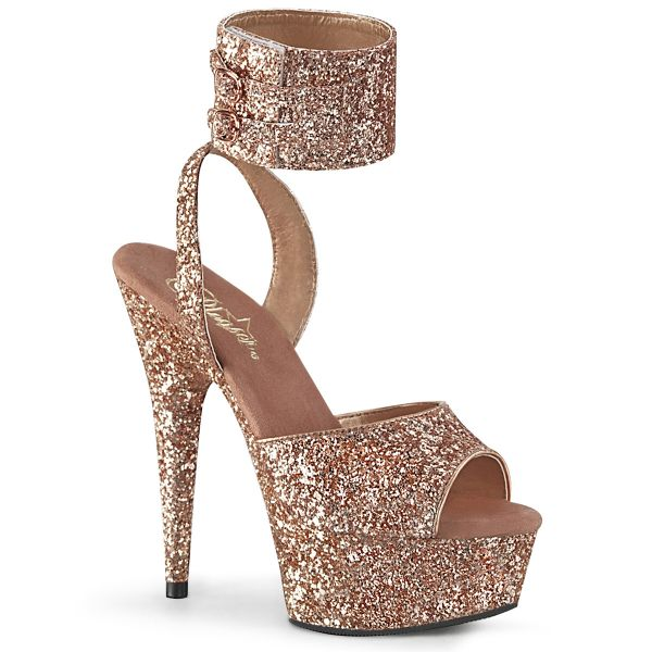 Product image of Pleaser DELIGHT-691LG Rose Gold Glitter/Rose Gold Glitter 6 inch (15.2 cm) Heel 1 3/4 inch (4.5 cm) Platform Glitter Ankle Strap Sandal Shoes