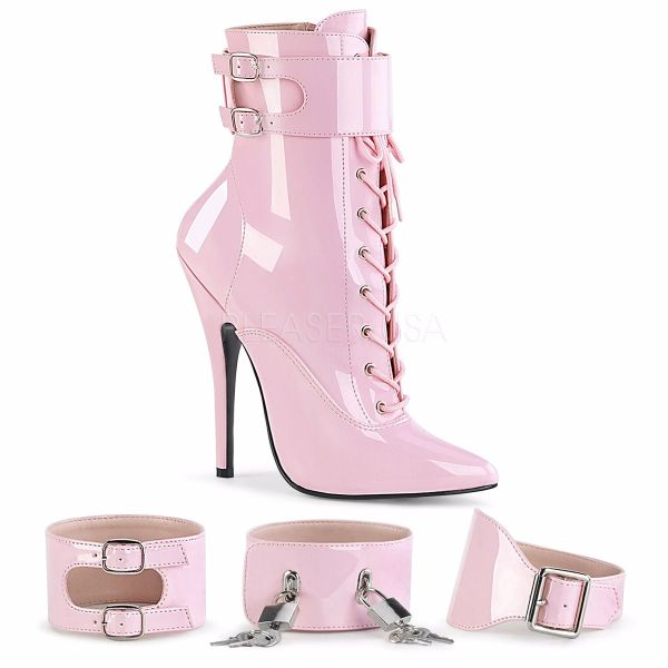 Product image of Devious DOMINA-1023 Baby Pink Patent 6 inch (15.2 cm) Heel Ankle Boot Side Zip