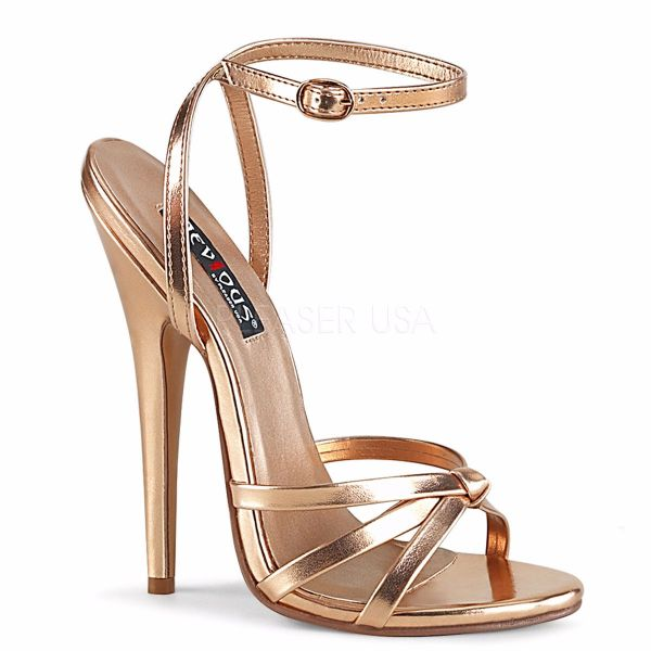Product image of Devious DOMINA-108 Rose Gold Metallic Polyurethane (Pu) 6 inch (15.2 cm) Wrap Around Knotted Straps Sandal Shoes