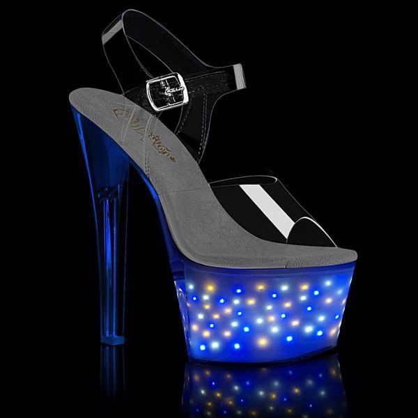 Product image of Pleaser ECHOLITE-708 Clear/White Glow 7 inch (17.8 cm) Heel 2 3/4 inch (7 cm) Platform Led Illuminated Ankle Strap Sandal
