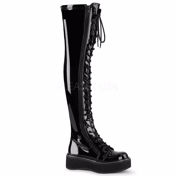 Product image of Demonia EMILY-375 Black Patent 2 inch Platform Stretch Thigh-High Lace-Up Boot With  Outer Metal Zip