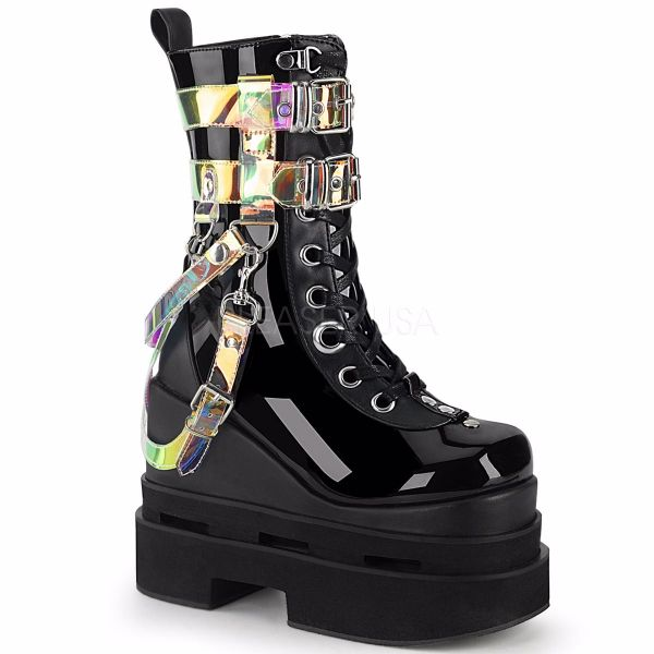 Product image of Demonia ETERNAL-115 Black Patent-Vegan Faux Leather 5 inch Triple Tiered Wedge Cutout Platform Mid-Calf Bt Side Zip