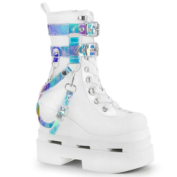 Product image of Demonia ETERNAL-115 White Vegan Faux Leather-Patent 5 inch Triple Tiered Wedge Cutout Platform Mid-Calf Bt Side Zip