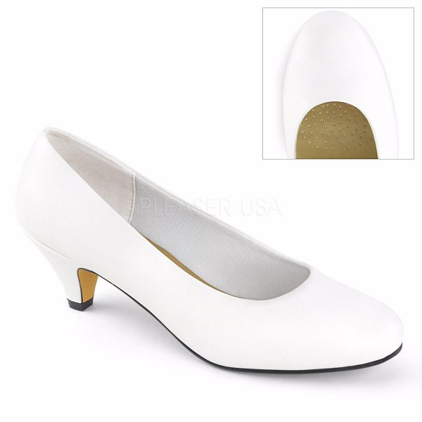 Product image of Pleaser Pink Label FEFE-01 White Faux Leather 2 1/4 inch (5.8 cm) Heel Classic Pump Court Pump Shoes