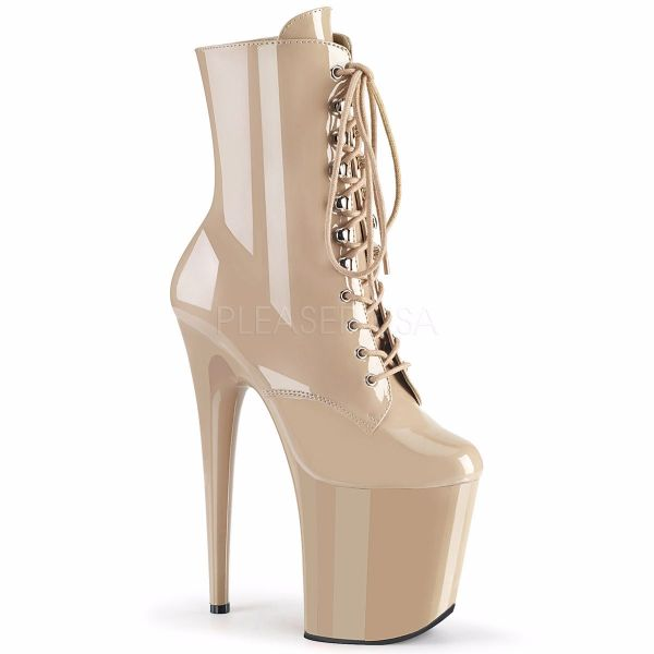 Product image of Pleaser FLAMINGO-1020 Nude Patent/Nude 8 inch (20 cm) Heel 4 inch (10 cm) Platform Lace-Up Front Ankle Boot Side Zip