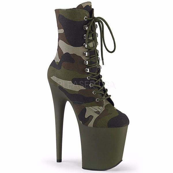 Product image of Pleaser FLAMINGO-1020CAMO Green Camouflage Fabric/Dark Olive Matte 8 inch (20 cm) Heel 4 inch (10 cm) Platform Lace-Up Ankle Boot Side Zip