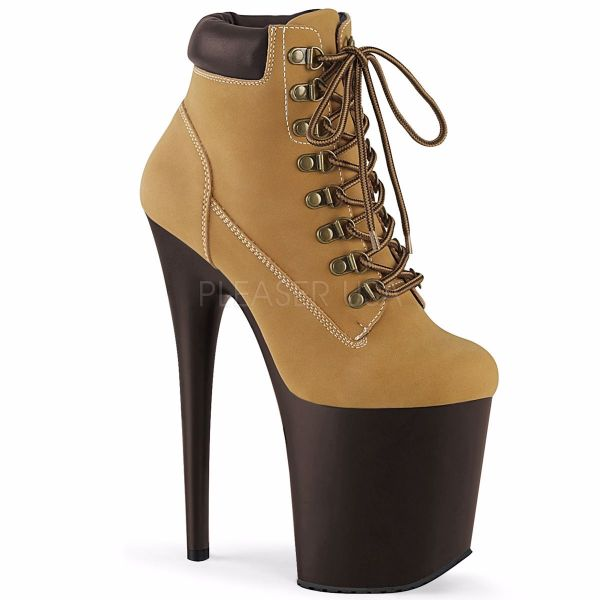 Product image of Pleaser FLAMINGO-800TL-02 Tan Faux Suede Faux Leather/D Brown Matte 8 inch (20 cm) Heel 4 inch (10 cm) Platform Lace-Up Front Bootie Side Zip