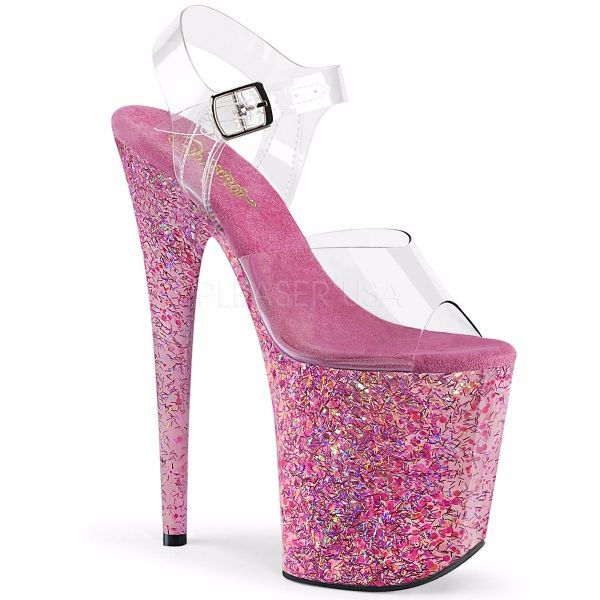 Product image of Pleaser FLAMINGO-808CF Clear/Pink Confetti 8 inch (20 cm) Heel 4 inch (10 cm) Platform Ankle Strap Sandal Shoes