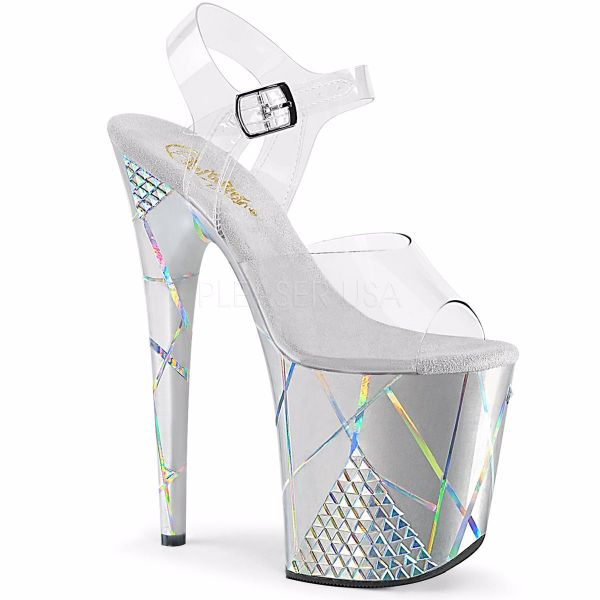 Product image of Pleaser FLAMINGO-808SHAPE-1 Clear/Silver 8 inch (20 cm) Heel 4 inch (10 cm) Platform Ankle Strap Sandal