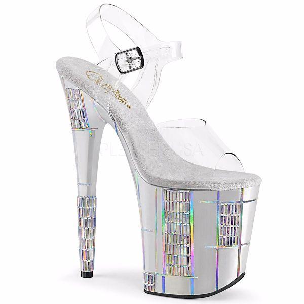 Product image of Pleaser FLAMINGO-808SHAPE-2 Clear/Silver 8 inch (20 cm) Heel 4 inch (10 cm) Platform Ankle Strap Sandal