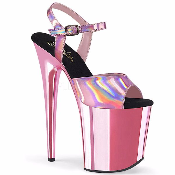 Product image of Pleaser FLAMINGO-809HG Baby Pink Holographic/Baby Pink Chrome 8 inch (20 cm) Heel 4 inch (10 cm) Platform Ankle Strap Sandal Shoes