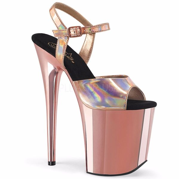 Product image of Pleaser FLAMINGO-809HG Rose Gold Holographic/Rose Gold Chrome 8 inch (20 cm) Heel 4 inch (10 cm) Platform Ankle Strap Sandal Shoes