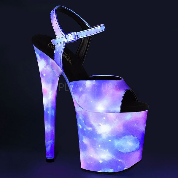Product image of Pleaser FLAMINGO-809REFL Purple-Blue Reflective/Purple-Blue Refl 8 inch (20 cm) Heel 4 inch (10 cm) Platform Ankle Strap Sandal With  Reflective Effect