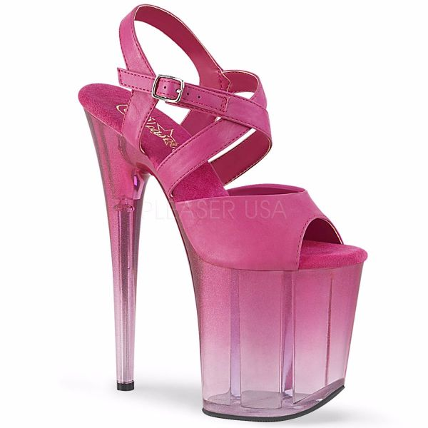 Product image of Pleaser FLAMINGO-822T Fuchsia Faux Leather/Faded Fuchsia 8 inch (20 cm) Heel 4 inch (10 cm) Platform Criss-Cross Ankle Strap Sandal Shoes