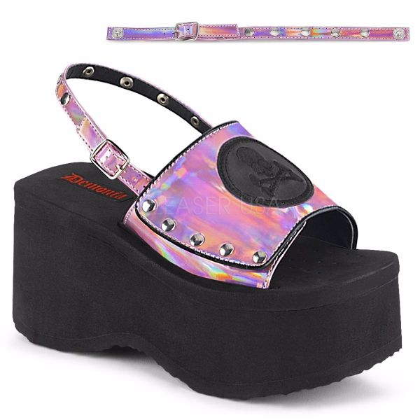Product image of Demonia FUNN-32 Pink Holographic 3 1/2 inch Platform Slingback Sandal
