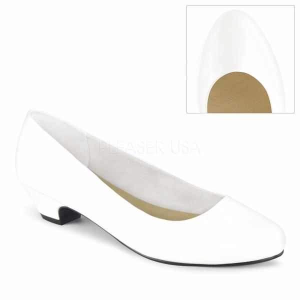 Product image of Pleaser Pink Label GWEN-01 White Faux Leather 1 1/4 inch (3.2 cm) Block Heel Classic Pump Court Pump Shoes