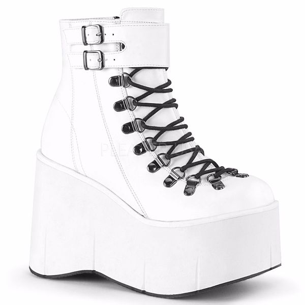 Product image of Demonia KERA-21 White Vegan Faux Leather 4 1/2 inch Platform Ankle Boot Side Zip
