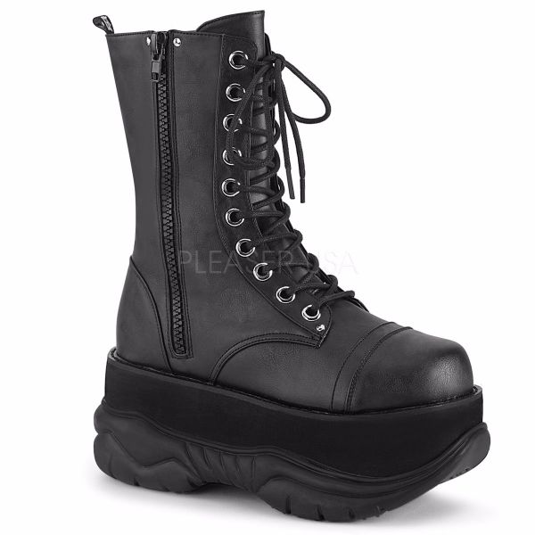 Product image of Demonia NEPTUNE-200 Black Vegan Faux Leather 3 inch Platform  Lace-Up Mid Calf Boot Outside Zip