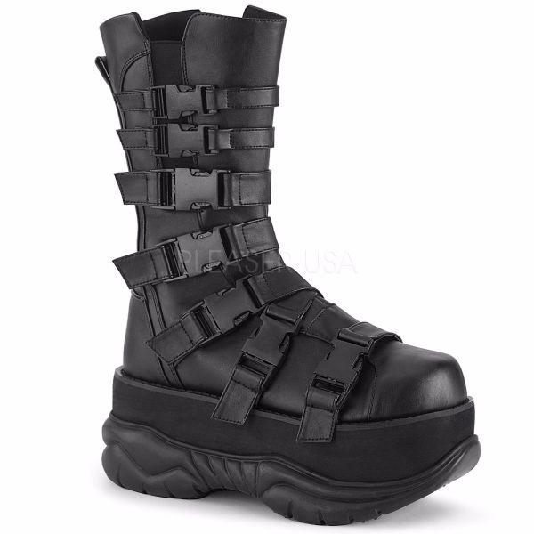 Product image of Demonia NEPTUNE-210 Black Vegan Faux Leather 3 inch Platform Mid Calf Boot Side Zip