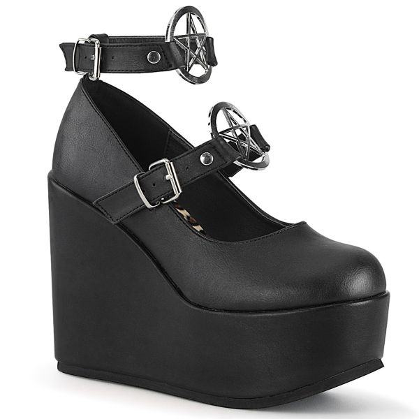 Product image of Demonia POISON-99-1 Black Vegan Faux Leather 5 inch Wedge Platform Mary Jane With  Pentagram O-Ring & Studs Detail