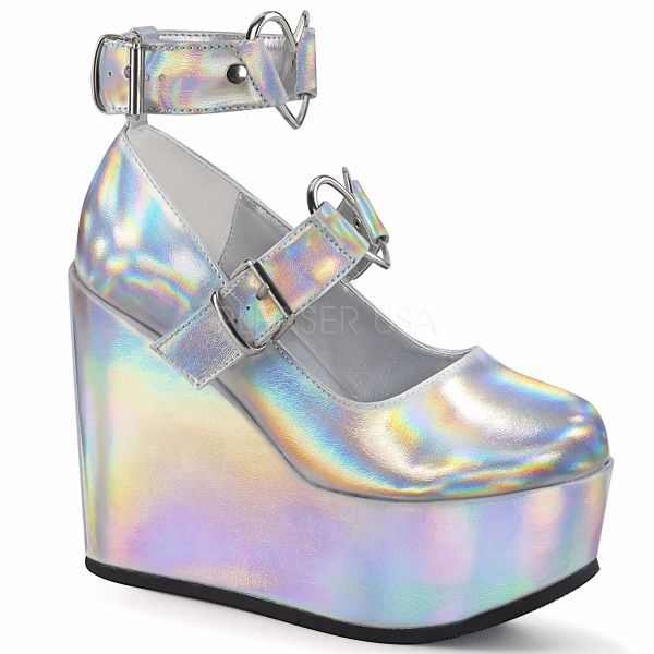 Product image of Demonia POISON-99-2 Silver Holographic Vegan Faux Leather 5 inch Wedge Platform Mary Jane With  Hearts O-Ring & Studs Detail