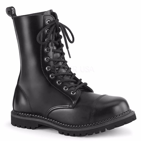 Product image of Demonia RIOT-10 Black Faux Leather 10 Eyelet Unisex Steel Toe Ankle Boot Rubber Sole