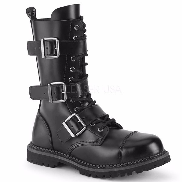 Product image of Demonia RIOT-12BK Black Leather 12 Eyelet Unisex Steel Toe Ankle Boot Rubber Sole