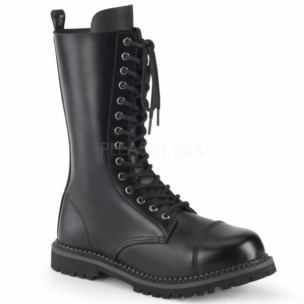 Product image of Demonia RIOT-14 Black Leather 14 Eyelet Unisex Steel Toe Mid Calf Boot Rubber Sole