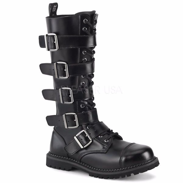 Product image of Demonia RIOT-18BK Black Leather 18 Eyelet Unisex Steel Toe Knee Boot Rubber Sole Knee High Boot