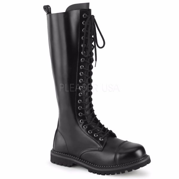 Product image of Demonia RIOT-20 Black Leather 20 Eyelet Unisex Steel Toe Knee Boot Rubber Sole Knee High Boot