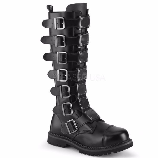 Product image of Demonia RIOT-21MP Black Leather Unisex Steel Toe Knee Boot Rubber Sole