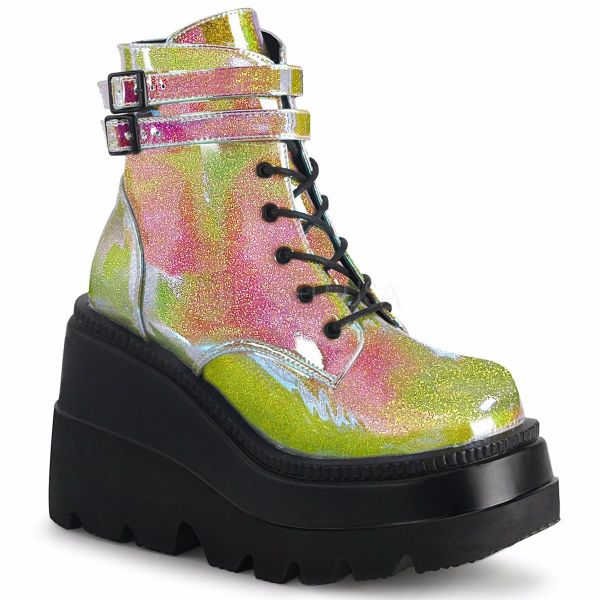 Product image of Demonia SHAKER-52 Pink Shifting Glitter Vegan Faux Leather 4 1/2 inch Wedge Platform Lace-Up Ankle Boot Side Zip