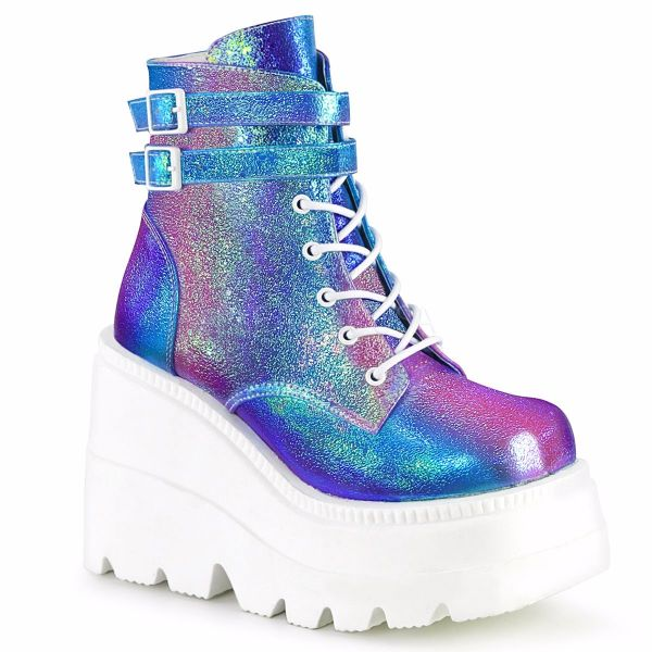 Product image of Demonia SHAKER-52 Purple Multicolour Iridescent Vegan Faux Leather 4 1/2 inch Wedge Platform Lace-Up Ankle Boot Side Zip