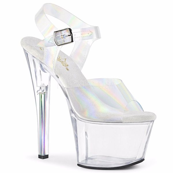 Product image of Pleaser SKY-308N-RBH Clear Holographic Polyurethane (Pu)/Clear 7 inch (17.8 cm) Heel 2 3/4 inch (7 cm) Platform Ankle Strap Sandal With  Rainbow Heel Shoes