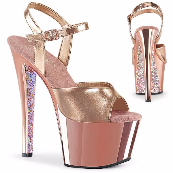 Product image of Pleaser SKY-309TTG Rose Gold Metallic Polyurethane (Pu)/Rose G Chrome-Glitter 7 inch (17.8 cm) Heel 2 3/4 inch (7 cm) Platform Ankle Strap Sandall