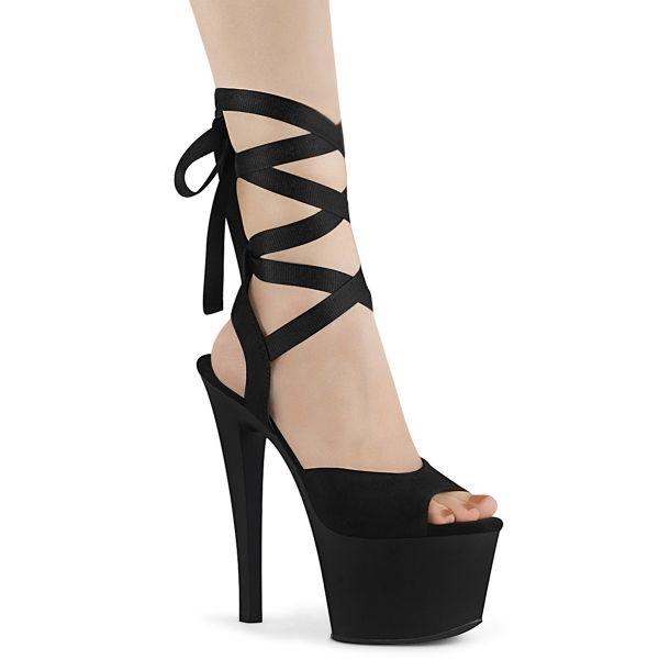 Product image of Pleaser SKY-334 Black Faux Suede/Black Matte 7 inch (17.8 cm) Heel 2 3/4 inch (7 cm) Platform Criss Cross Ankle Wrap Sandal Shoes