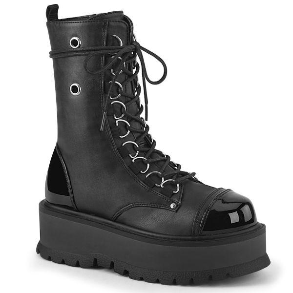 Product image of Demonia SLACKER-150 Black Vegan Faux Leather-Patent 2 inch Platform Lace-Up Ankle Boot Side Zip