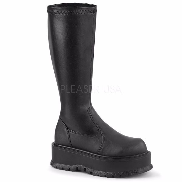 Product image of Demonia SLACKER-200 Black Stretch Vegan Faux Leather 2 inch Platform Stretch Knee High Boot 1/2 Side Zip