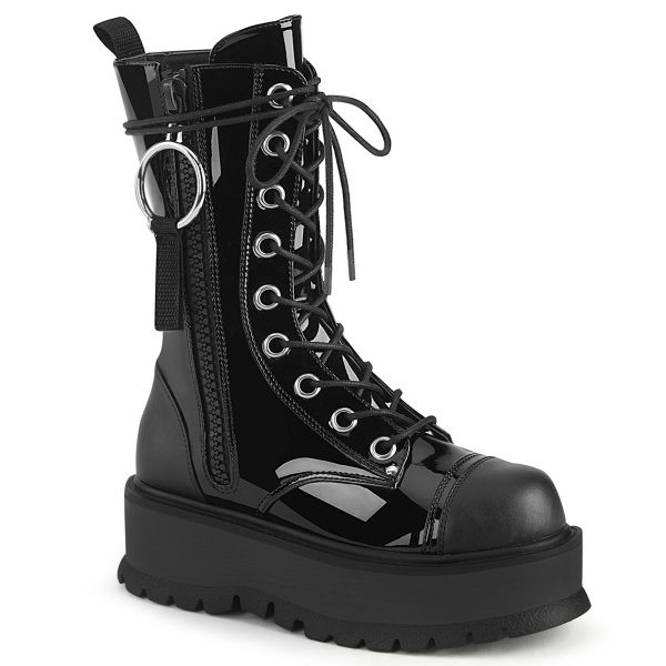 Product image of Demonia SLACKER-220 Black Patent-Vegan Faux Leather 2 inch Platform Lace-Up Ankle Boot Outside Zip