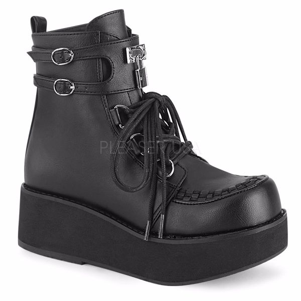 Product image of Demonia SPRITE-70 Black Vegan Faux Leather 2 1/4 inch Platform Lace-Up Ankle Boot Side Zip