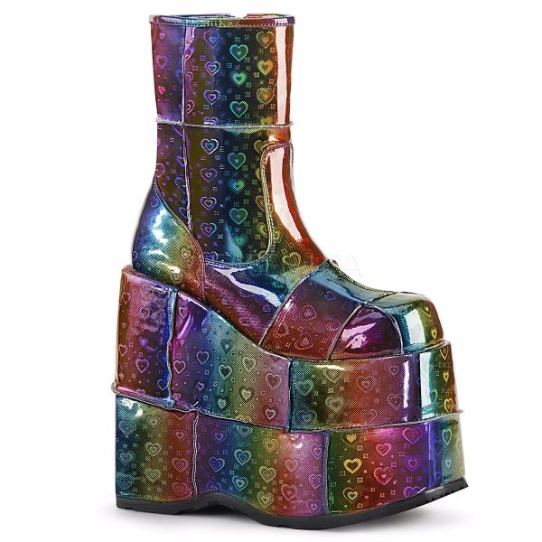 Product image of Demonia STACK-201 Rainbow Holographic Vegan Faux Leather With  Hearts 7 inch Platform Ankle Boot Side Zip