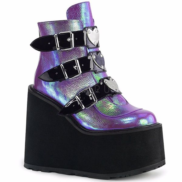 Product image of Demonia SWING-105 Purple Iridescent Vegan Faux Leather 5 1/2 inch Platform Ankle Boot With  3 Buckles Straps Back Metal Zip