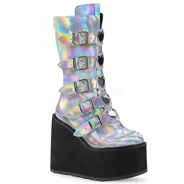Product image of Demonia SWING-230 Silver Holographic Vegan Faux Leather 5 1/2 inch Platform Mid-Calf Boot With  5 Buckles Straps Back Metal Zip