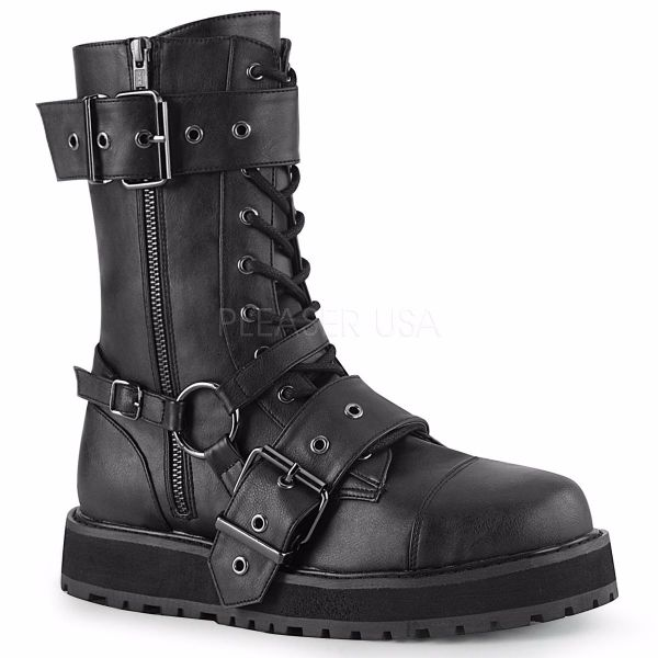 Product image of Demonia VALOR-220 Black Vegan Faux Leather 1 1/2 inch Platform Lace-Up Mid-Calf Boot Side Zip