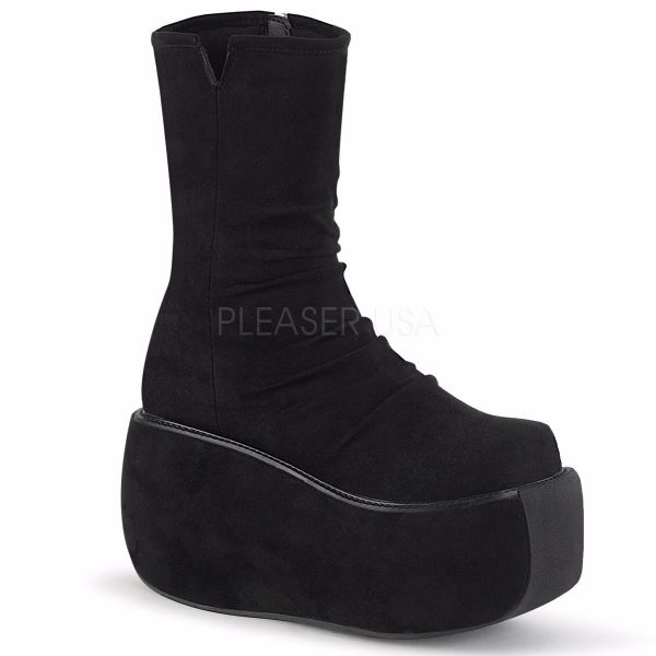 Product image of Demonia VIOLET-100 Black Faux Suede 3 1/2 inch Platform Ankle Boot Side Zip