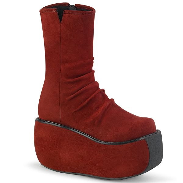 Product image of Demonia VIOLET-100 Burgundy Faux Suede 3 1/2 inch Platform Ankle Boot Side Zip
